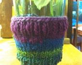 Hand Knit Cabled Eco-Friendly Coffee Cozy / Java Jacket / Mug Cozy Blue Green and Purple Noro Kureyon 100% Wool