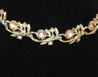 Beautiful Vintage Colored Rhinestone Necklace
