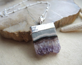 Amethyst Necklace, Amethyst Slice Pendant Necklace, Sterling Silver Chain Necklace, Amethyst Druzy Necklace, Amethyst Jewelry Gift For Her