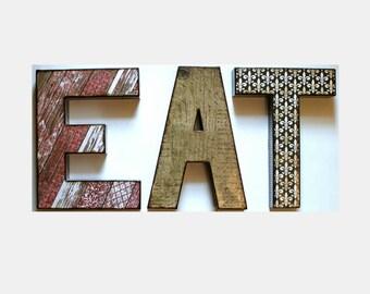 EAT Letters 12 inch Decoupage Kitchen Decor