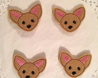 Brown mini felt chihuahua applique- set if 4.