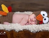 Turkey Hat and Diaper Cover Set, Newborn Photo Prop, Fall Autumn Thanksgiving Crochet Newborn, Thanksgiving Outfit