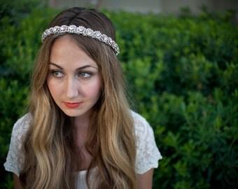 Rhinestone and lace bridal garland
