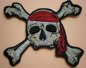 Embroidered Pirate Skull and Crossbones Iron On Applique Patch, Skull and Crossbones, Pirate, Biker Patch, Gothic