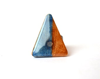 Triangle Statement Ring . Geometric wood jewelry .  Triangle ring .  Starlight Woods . wood ring modern jewelry eco friendly