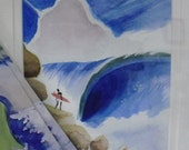 Original Water Color- Surf Art- Framed