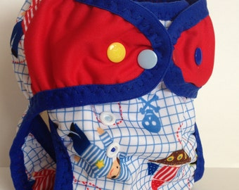 Nautical PUL Reusable Swim Diaper with leg gussets M-L.  Choice of wing color and FOE (red/white/blue) .  Made to Order  Message me first