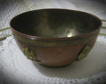 Vintage Copper And Brass Decorative Bowl-Rare