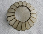 """Vintage Shade - Frosted Plastic Lamp Shade - Stained Glass and Brass Style - 2 3/4"""" Tall x 8"""" Wide - Repurpose - Altered Art Supply"""