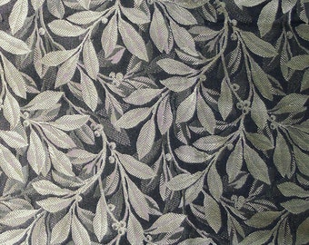 """Designer Fabric - Discontinued Sample - Gold Leaves on Black Pattern - 26 1/2"""" Square"""
