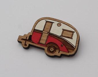 Laser cut wood brooch, Cosy, cute vintage caravan, red and white handpainted