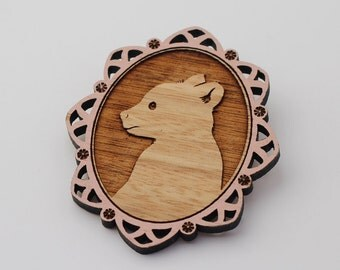 Laser cut wood brooch - Adorable little brown bear cub cameo, handpainted pink border
