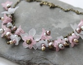 SALE Spring Spectacular- Lucite Flower Spring Garden Necklace, Pink and White Brass Statement Handmade Necklace- Gifts for Her.
