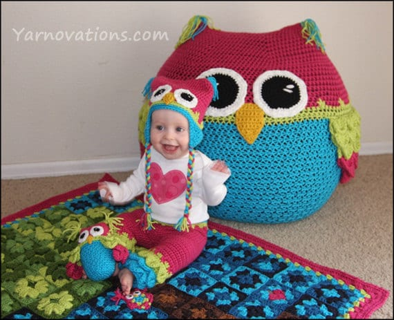 Crochet Bean Bag Tutorial : Owl Set CROCHET PATTERN Bean Bag Chair Hats Pants