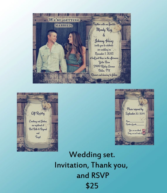 Invitation Packages Wedding: Rustic Wedding Invitation Package Invitation Response