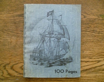 Vintage French School WorkBook or Exercise Book Unused with Pirate Ship Cover 100 Pages
