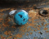 Blue Turquoise Ring - Sterling Silver - Handmade Jewelry - Size 8 1/4