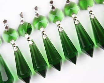 25 Green Glass Chandelier Crystals Icicle Prisms Hanging Drops Lamp Parts