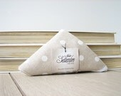 wedding favors bag / shabby tote / white polka dots shopper / cotton shopping bag / bag triangle fold / edge in white ribbon / 1 piece