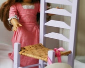 Doll Chair, 18 Inch Size Chair,Lavender Doll Chair, Woven Ladder Back Chair.