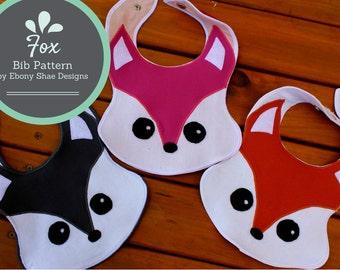 Fox Baby Bib, Sewing Pattern.  PDF tutorial for fox bib with Instant Download.