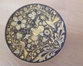Vintage Damascene Toledo Spain Hand Crafted Miniature Plate flower patern