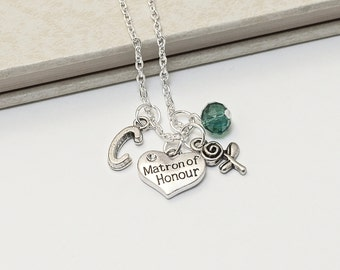 Personalized Matron of Honour Necklace with Your Initial and Birthstone