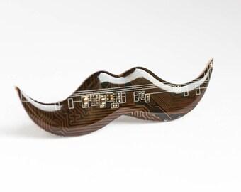 Mustache brooch / tie clip - Movember - Black / Brown Circuit board - Computer jewelry