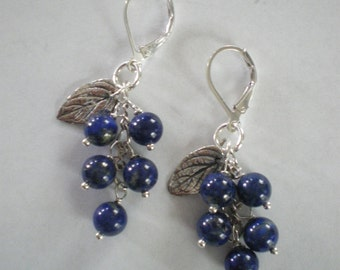 Maine Blueberries Sterling and Lapis Lazuli Earrings