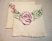 Pillowcase Set with Embroidered Purple Roses & Purple Daisies - 2 Standard Size