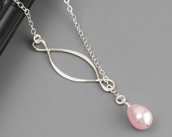 Pink Pearl Necklace - Swarovski Pearl Bridesmaid Necklace - Pearl Infinity Necklace - Sterling Silver Lariat - Pearl Bridesmaid Jewelry