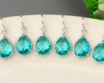 Sea Green Earrings SET OF 6 - 15% OFF Silver Teal Blue Green Crystal Drop Earrings - Blue Green Bridesmaid Earrings - Bridesmaid Jewelry