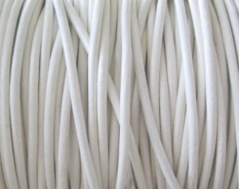 3MM Leather Cord Round Lace Summer White 3 Yd Jewelry Craft