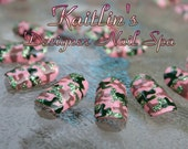 Pink Bling Camouflage Artificial Nail Art