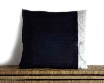 Black jeans cushion, french script pillow, romantic cushions, 16x16 inches