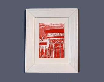 FRAMED Alhambra Courtyard Etching Hand Pulled Original Print
