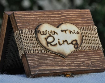 Personalized Ring Bearer Box -Rustic Wedding -Ring Bearer Pillow Alternative