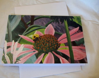 Surreal bee and cone flower FIne Art Any Occasion blank Greeting Card 5x7 with envelope
