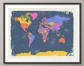 Retro Political Map of the World Map, Art Print, 18x24 up to 24x36 (1098)