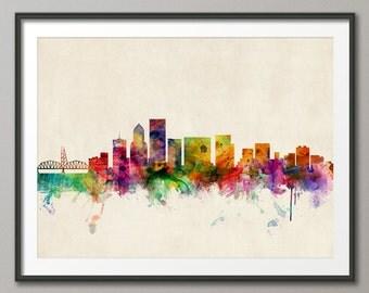 Portland Skyline, Portland Oregon Cityscape Art Print (584)