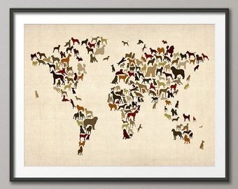 Dogs Map of the World Map, Art Print (1140)