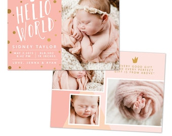 INSTANT DOWNLOAD - Photoshop Birth announcement template -  e1053