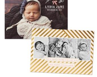 INSTANT DOWNLOAD - Photoshop Birth announcement template -  e1055