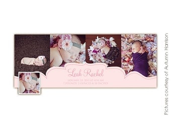 INSTANT DOWNLOAD - Photoshop Birth Announcement FB Timeline Cover - E388