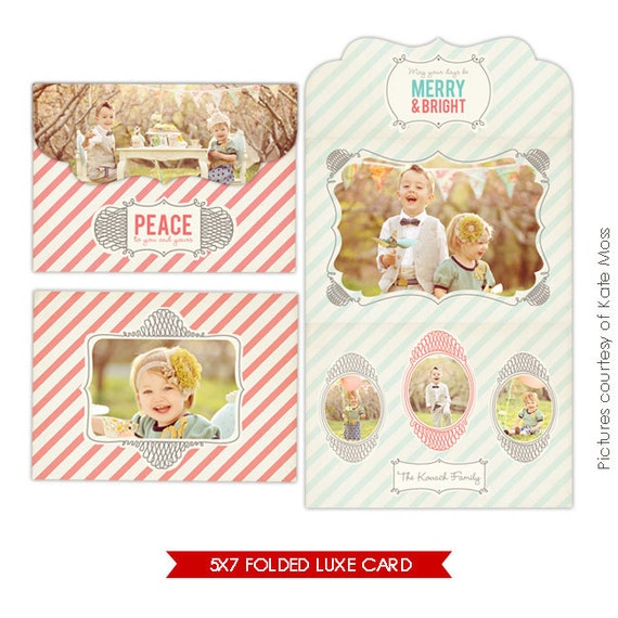 Holiday Folded Luxe Card PhotoshopTemplate - Have fun - E234