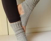 Handmade Yoga Socks - Leg Warmers - 100% Cotton - Light Gray - Top Seller - Crocheted - Ticklebebe Original - Pedicure Socks - Ready to Ship