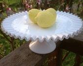 Vintage Fenton Cake Plate, Silver Crest Ruffle, Cake Stand, Platter, Milk Glass, Wedding