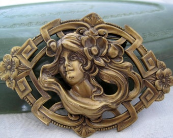 Art Nouveau Style Brooch - Brass Woman - 3D Style - Collectible Brooch