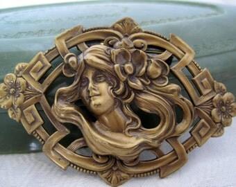 Art Nouveau Brooch Style Woman Brass