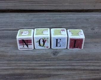 Wooden Christmas blocks - set of 4 - Noel -  Penguins Chillin'